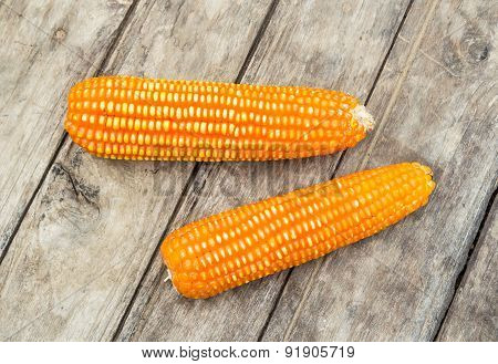 Dried Corn On Old Wooden Background