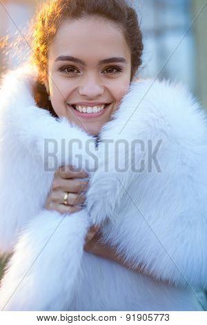 Portrait of a happy bride.