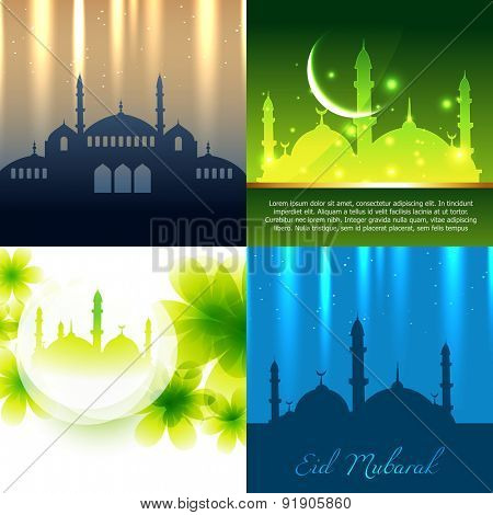 vector set of attractive background of ramadan kareem festival with mosque illustration