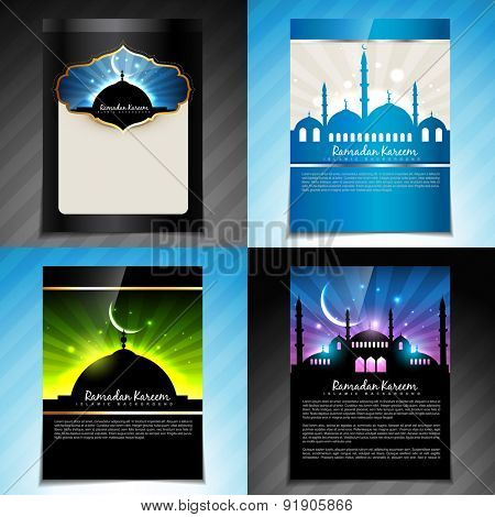 vector set of ramadan kareem festival of muslim brochure  and template design
