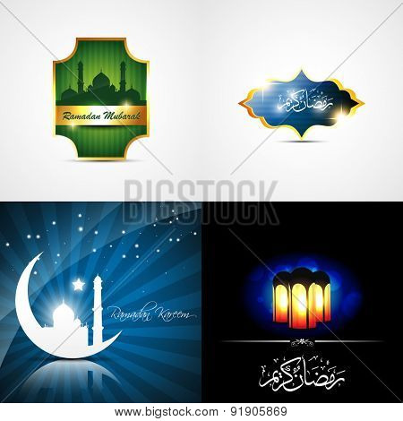 vector attractive set of ramadan kareem background with beautiful lamp and mosque illustration