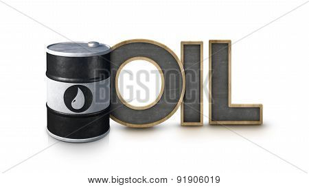 Oil text with oil barrel