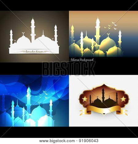vector attractive set of ramadan kareem festival background illustration