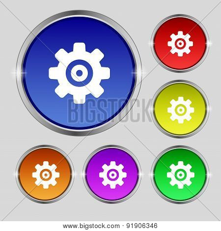 Cog Settings, Cogwheel Gear Mechanism Icon Sign. Round Symbol On Bright Colourful Buttons. Vector