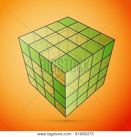 Three D cube green
