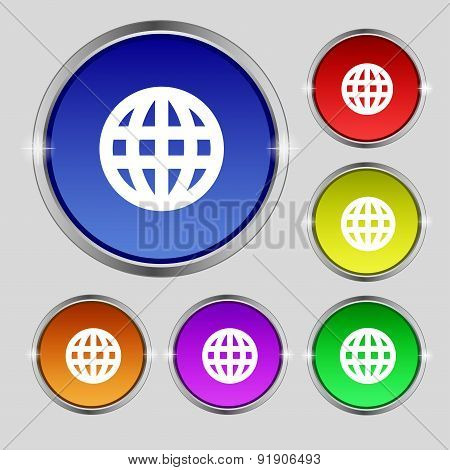 Globe, World Map Geography Icon Sign. Round Symbol On Bright Colourful Buttons. Vector