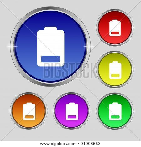 Battery Low Level, Electricity Icon Sign. Round Symbol On Bright Colourful Buttons. Vector