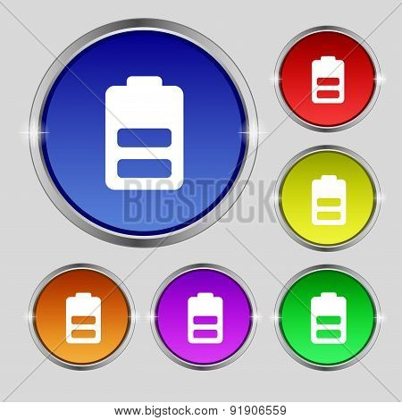 Battery Half Level, Low Electricity Icon Sign. Round Symbol On Bright Colourful Buttons. Vector