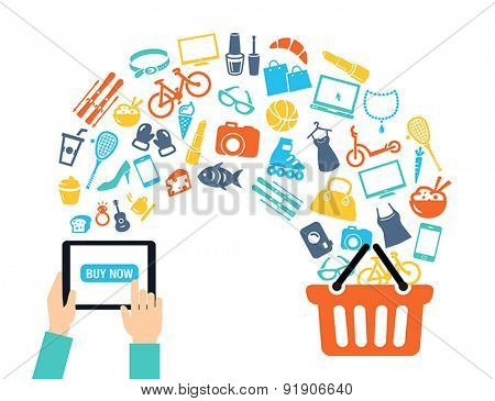 Shopping background concept with icons shopping online, using a PC, tablet or a smartphone. Can be used to illustrate mobile communication topics or consumerism.