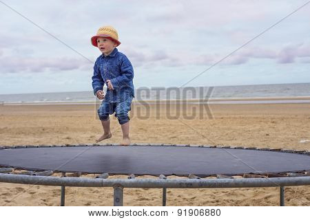 Child On A Trampoline