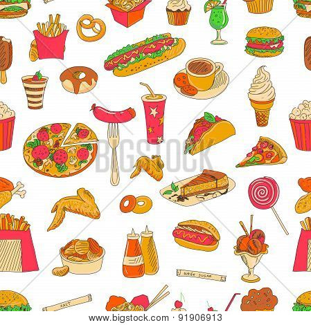 Colored hand drawn fast food pattern