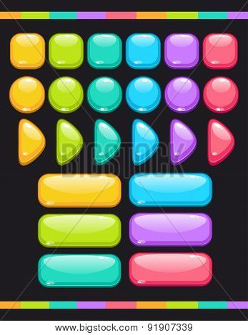 Set Of Cute Colorful Glossy Buttons