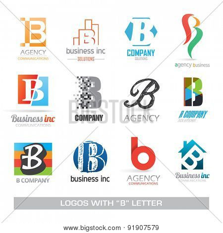 Business symbols corporate identity with letter B