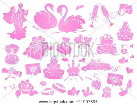 Set of wedding icon