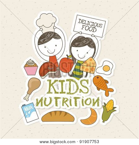 Food design over beige background vector illustration