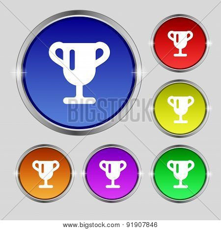 Winner Cup, Awarding Of Winners, Trophy Icon Sign. Round Symbol On Bright Colourful Buttons. Vector