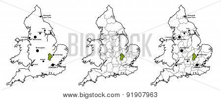 Bedfordshire located on map of England