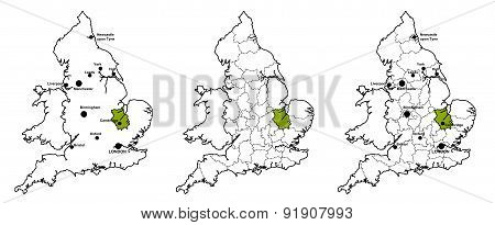 Cambridgeshire located on map of England