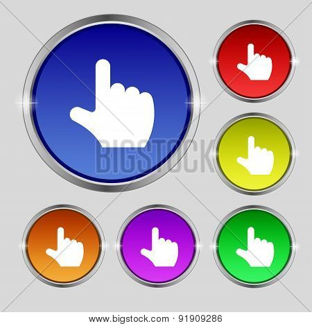 Pointing Hand Icon Sign. Round Symbol On Bright Colourful Buttons. Vector