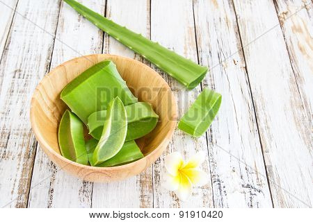 Aloe Vera Leaves In Wooden Bowl On Wooden Table