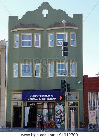 Woman Stands Outside Oaksterdam Medical Marijuana Store