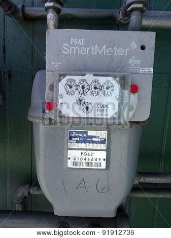 San Jose - March 30: Pg&e (utility Co)  Electricity Smartmeters On Residential Building. Smartmeters