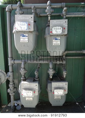 Four Pg&e (utility Co) Electricity Smartmeters On Residential Building