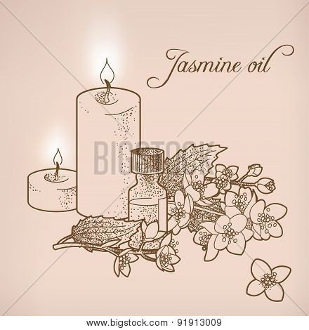 Jasmine Essential Oil And Candles