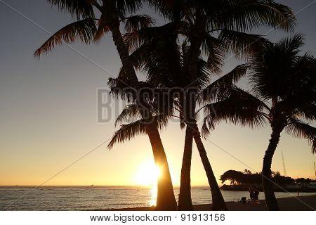 Sunset Over The Ocean At Ala Moana Beach Park