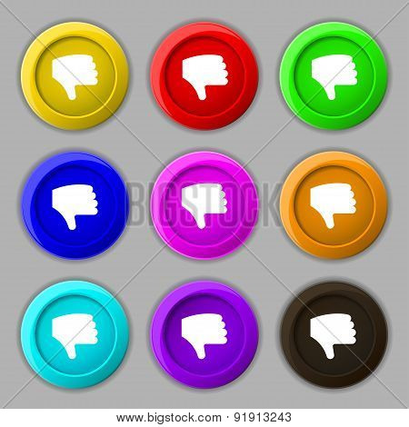 Dislike, Thumb Down, Hand Finger Down Icon Sign. Symbol On Nine Round Colourful Buttons. Vector