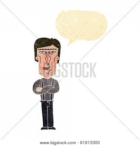 cartoon angry man with speech bubble