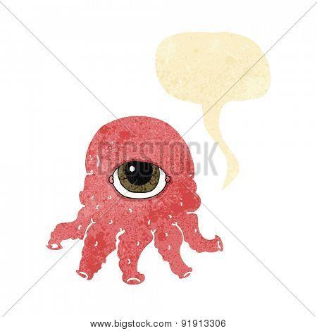 cartoon alien head with speech bubble