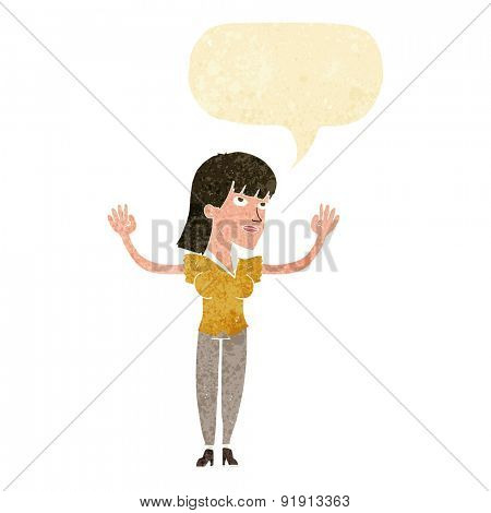 cartoon woman throwing hands in air with speech bubble