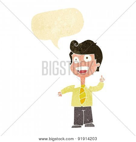cartoon school boy raising hand with speech bubble
