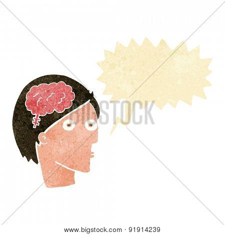 cartoon head with brain symbol with speech bubble