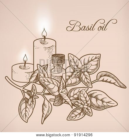Basil Essential Oil And Candles
