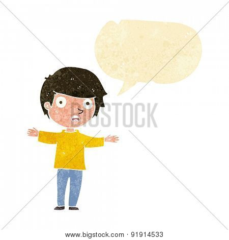 cartoon worried boy with speech bubble