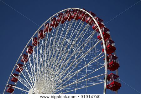 Ferris Wheel at Carnival Fair on Pier Chicago