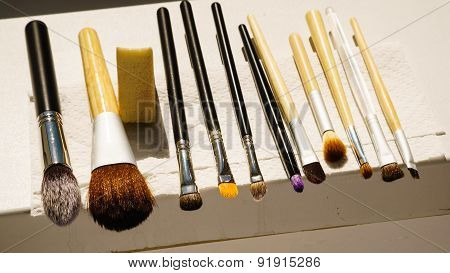 Set Of Wet Makeup Brushes After Washing Drying