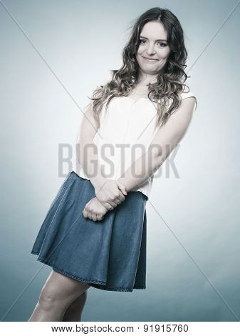 Lovely Girl In Summer Clothes Portrait
