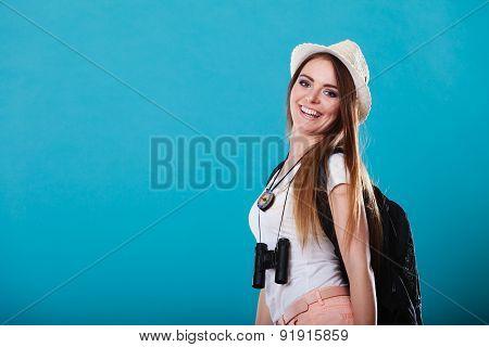 Tourist Woman In Summer Hat Portrait