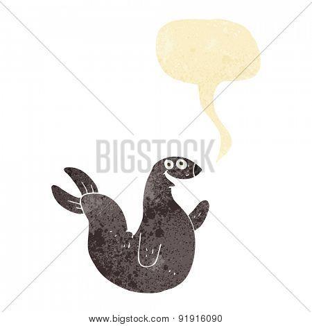 cartoon happy seal with speech bubble