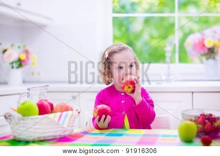 Little Girl Having Fruit For Breakfast