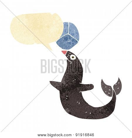 cartoon performing seal with speech bubble