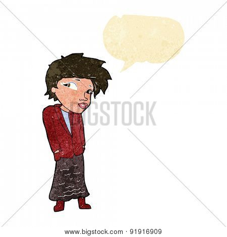 cartoon woman with hands in pockets with speech bubble