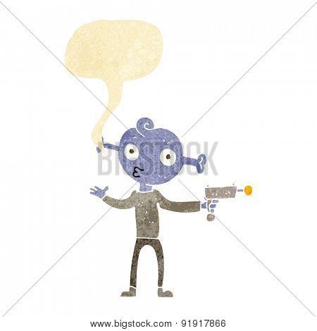 cartoon alien with ray gun with speech bubble