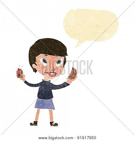 cartoon woman eating hotdogs with speech bubble