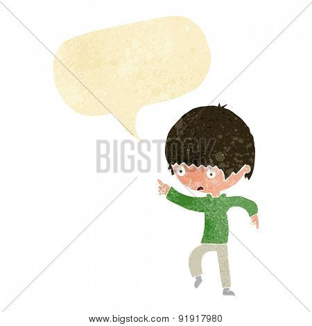 cartoon worried boy pointing with speech bubble