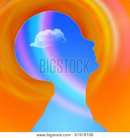 Human Head with cloud and rainbow free mind