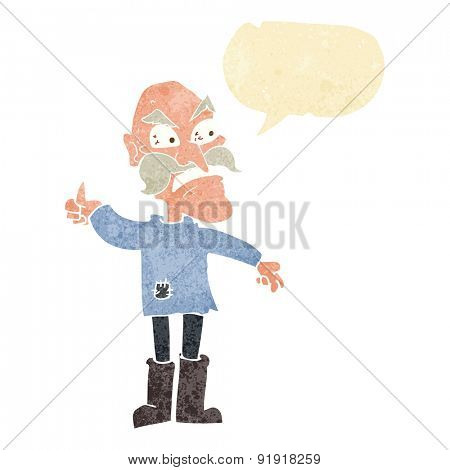 cartoon angry old man in patched clothing with speech bubble